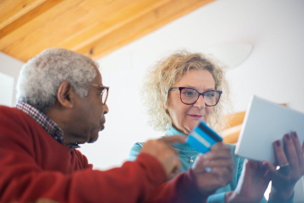 Senior couple discussing finances
